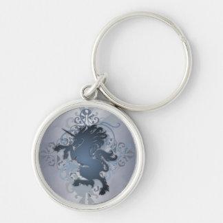 De zilveren Stedelijke Eenhoorn Keychain van de Fa Zilverkleurige Ronde Sleutelhanger
