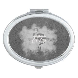 De zilveren Wolk van de Flamingo voegt de Spiegel Make-up Spiegeltje