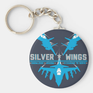 De zilveren Zeer belangrijke Ketting van Vleugels Basic Ronde Button Sleutelhanger