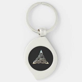 De zilveren Zwarte Driehoek beweegt het Keltische Sleutelhanger