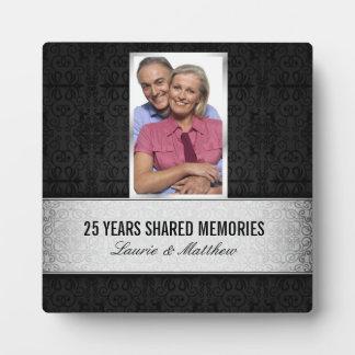 De zilveren Zwarte Foto van het Damast ontwerpt 25 Fotoplaten