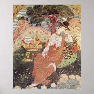 De zitting van de prinses in een tuin, Dynastie Sa Poster