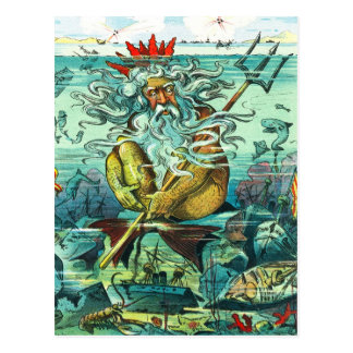 De zitting van Neptunus onder gedaalde wrakken Briefkaart
