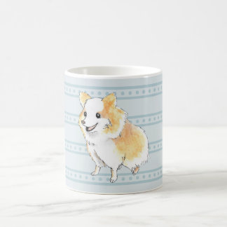 De Zitting Watercolour van Pomeranian in Blauw Koffiemok
