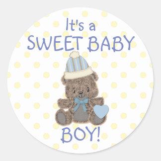 De zoete Jongen van het Baby draagt Ronde Stickers