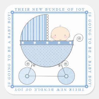 De zoete Jongen van het Baby in het Baby shower Vierkante Stickers