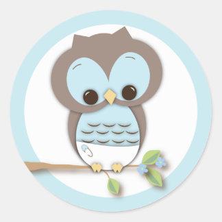 De zoete Kleine Uil van de Jongen van het Baby op  Ronde Sticker