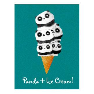 De zoete Panda draagt de Kegel van het Roomijs Briefkaart