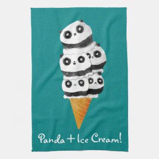 De zoete Panda draagt de Kegel van het Roomijs Theedoek