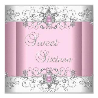 De zoete Roze Zilveren Witte Partij van het 13,3x13,3 Vierkante Uitnodiging Kaart