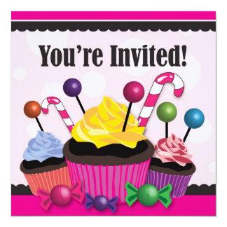 De Zoete van de Partij Cupcake Uitnodiging van het