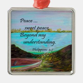 De Zoete Vrede van de vrede Zilverkleurig Vierkant Ornament