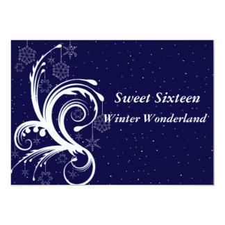 De zoete Zestien Sneeuwvlokken van het 12,7x17,8 Uitnodiging Kaart