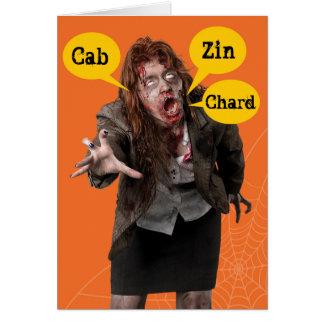 De Zombie Gelukkige Hallowine Wino van Halloween Briefkaarten 0