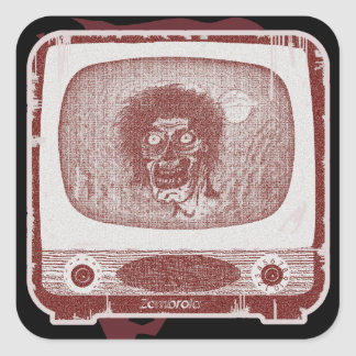 de zombie! Op het Rood van de Baksteen TV~ Vierkante Sticker
