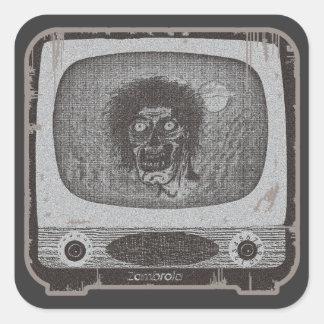 de zombie! Op Rood TV~Lite Vierkante Sticker