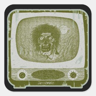 de zombie! Op TV~Green Vierkante Sticker