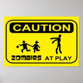 De zombieën bij Spel waarschuwen het GELE Ontwerp  Poster