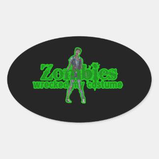 De zombieën sloopten Mijn Kostuum - Halloween Ovale Stickers