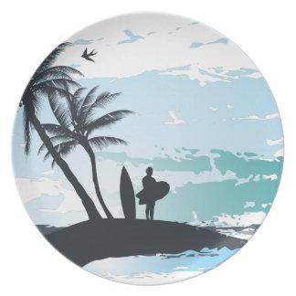 De zomer surfer achtergrond van de palm borden
