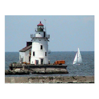 De Zomer van de Vuurtoren van Erie van het meer Briefkaart
