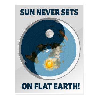 De zon plaatst nooit op Vlakke Aarde! Briefkaart