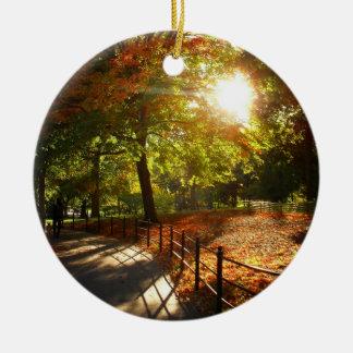 De Zon van de Herfst van de Stad van New York Rond Keramisch Ornament