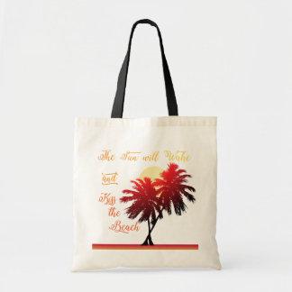 De Zon van de palm zal van de het Strand wekken en Draagtas
