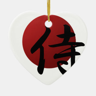 De Zon van samoeraien Keramisch Hart Ornament