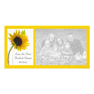De zonnebloem op Wit Huwelijk bewaart de Datum Kaart