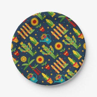De zonnebloem van de cactus op het blauwe patroon papieren bordje