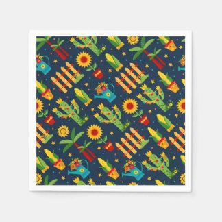 De zonnebloem van de cactus op het blauwe patroon wegwerp servet