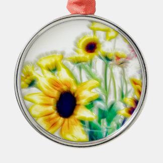 De Zonnebloem van de zomer en Boeket Strawflower Zilverkleurig Rond Ornament