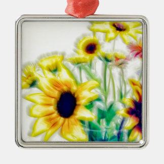 De Zonnebloem van de zomer en Boeket Strawflower Zilverkleurig Vierkant Ornament