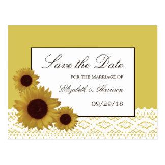 De zonnebloemen en het Vintage Huwelijk van het Briefkaart