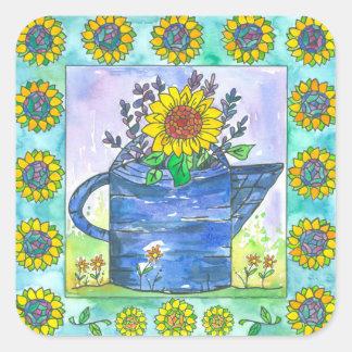 De Zonnebloemen van de waterverf Vierkante Sticker