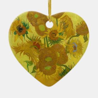 De Zonnebloemen van Vincent van Gogh - Klassieke Keramisch Hart Ornament