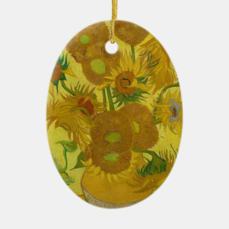 De Zonnebloemen van Vincent van Gogh - Klassieke Keramisch Ovaal Ornament