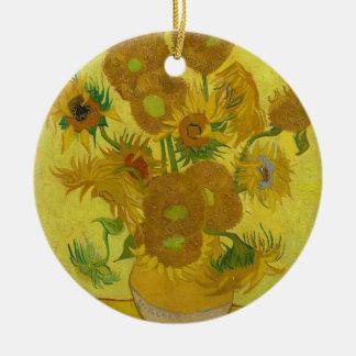 De Zonnebloemen van Vincent van Gogh - Klassieke Rond Keramisch Ornament