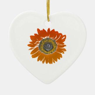 De Zonneschijn van de zonnebloem Keramisch Hart Ornament