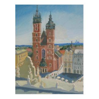 De zonnige Kathedraal van Krakau Briefkaart