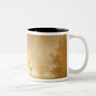 De zonsondergang kleurt de stoom binnen boven de tweekleurige koffiemok