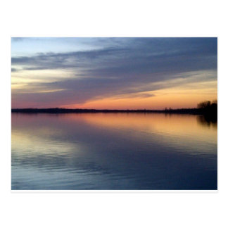 De zonsondergang van Champlain van het meer van Briefkaart