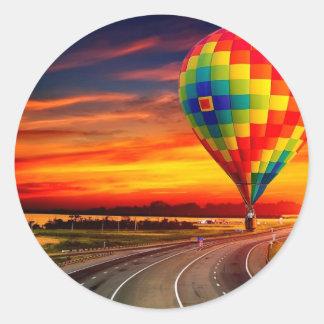 De Zonsondergang van de ballon Ronde Sticker