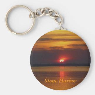 De zonsondergang van de Haven van de steen keychai Sleutelhanger