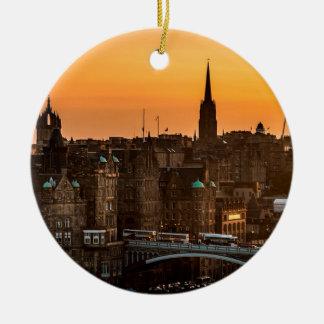 De Zonsondergang van de Horizon van Edinburgh Rond Keramisch Ornament
