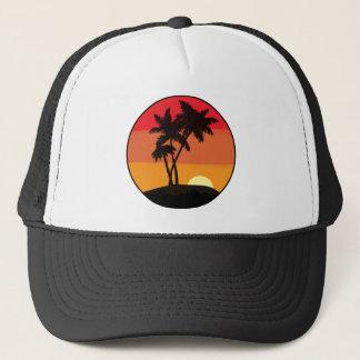 De Zonsondergang van de palm Trucker Pet