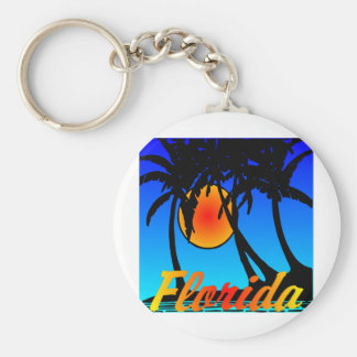 De Zonsondergang van de Palmen van Florida Basic Ronde Button Sleutelhanger