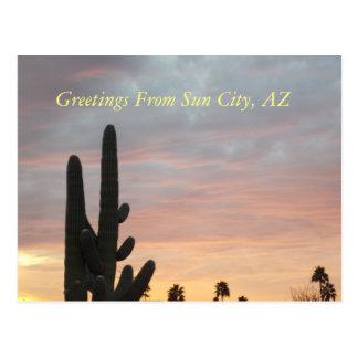 De Zonsondergang van de Stad van de zon 1 Briefkaart