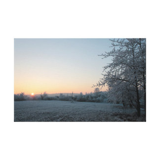 De zonsondergang van de winter in Duitsland Canvas Print